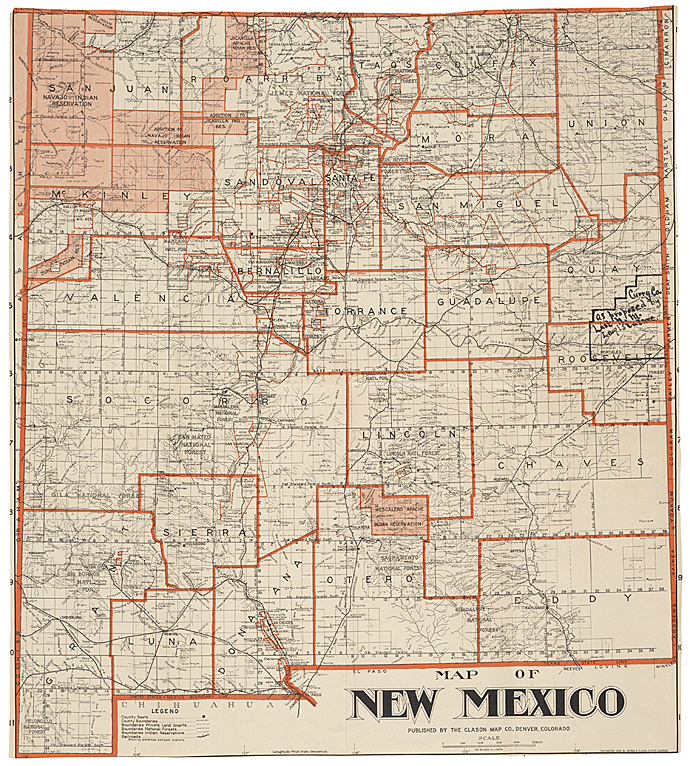 Map of NM Showing County Seats and Boundaries 1908 - Albuquerque ...